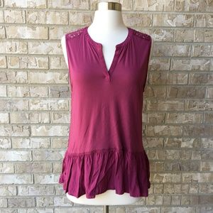 LOFT Beet Plum Purple Crochet Peplum Top Size S